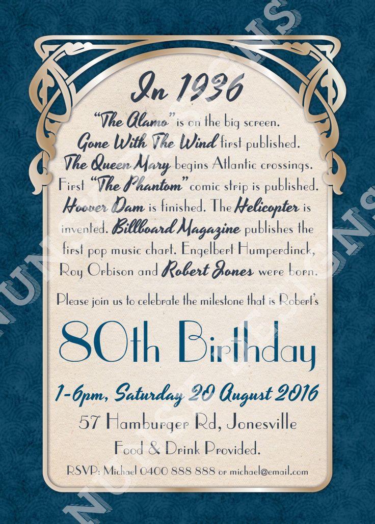 80th Birthday Party Invitations // Men's Art Nouveau
