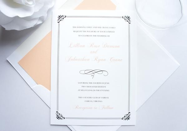 Colors can be customized to reflect your wedding for each design! Shown in Peach and Charcoal. Ribbon and Ink colors available in every color on the color chart