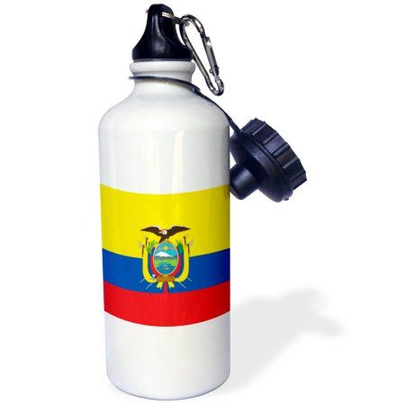 3dRose Flag of Ecuador - South America American - Ecuadorian yellow blue red - condor bird coat of arms, Sports Water Bottle, 21oz