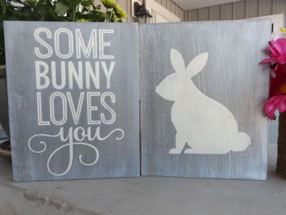 SOME BUNNY LOVES YOU sign duo from Schocking Creations | How cute would this be in a nursery!? #schockingcreations #easter #nursery #etsy #somebunnylovesyou #bunny