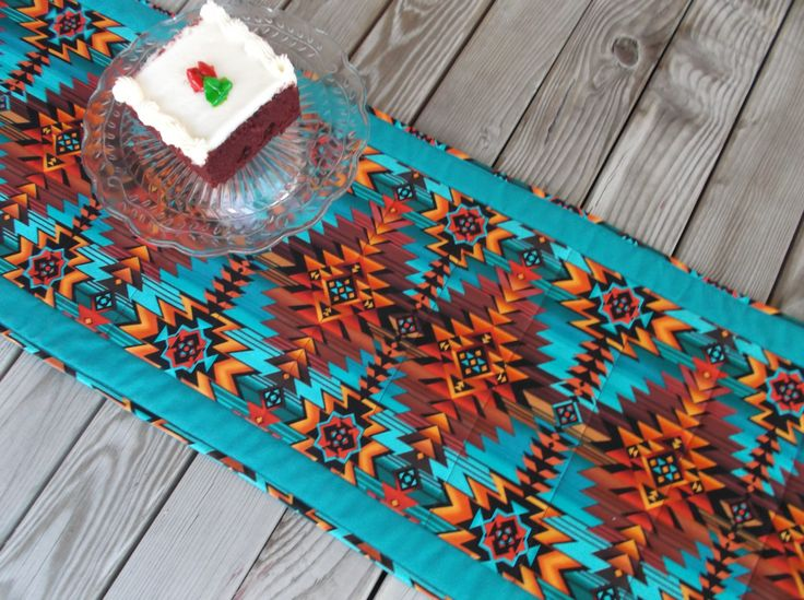 Aztec southwestern table runner, quilted table runner, handmade table runner, sideboard runner, country western, 71 inches by 3Jenerations on Etsy