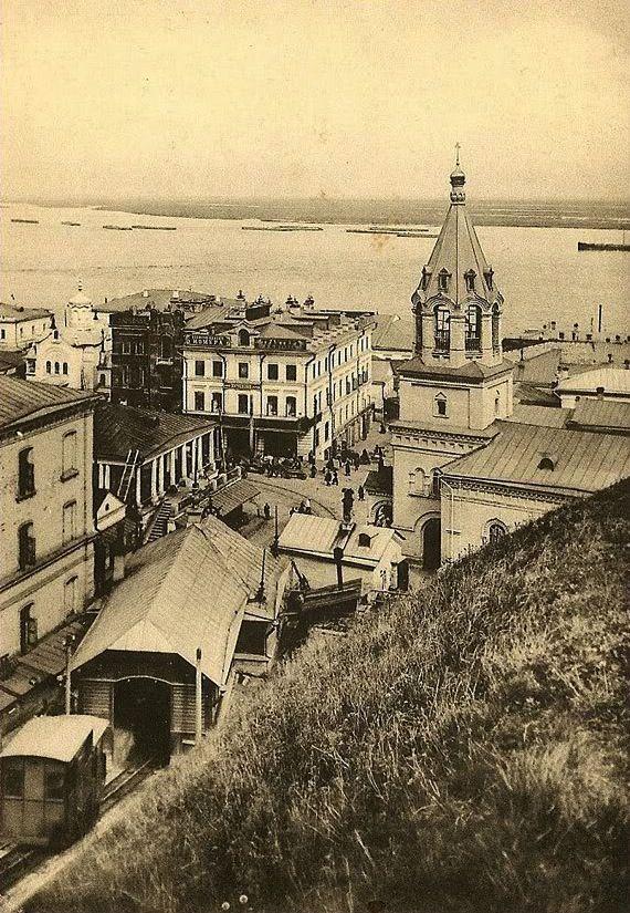 View of the Kremlin elevator and Church of St. John the Baptist, Nizhny Novgorod, c. 1900-10's.