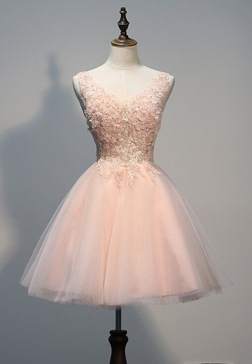 Lovely Light Pink Tulle Short Prom Dress with Lace Applique, Pink Homecoming Dresses, Party Dresses / BeMyBridesmaid