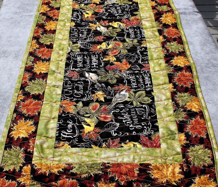 Cozyfall Home: Bird Table Runner Fall Table Topper Autumn Quilted Runner