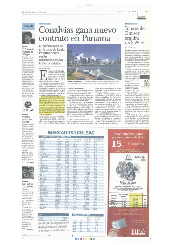 Conalvias gana nuevo contrato en Panamá.  Periódico El País de Cali.  Andres Jaramillo Lopez Conalvias