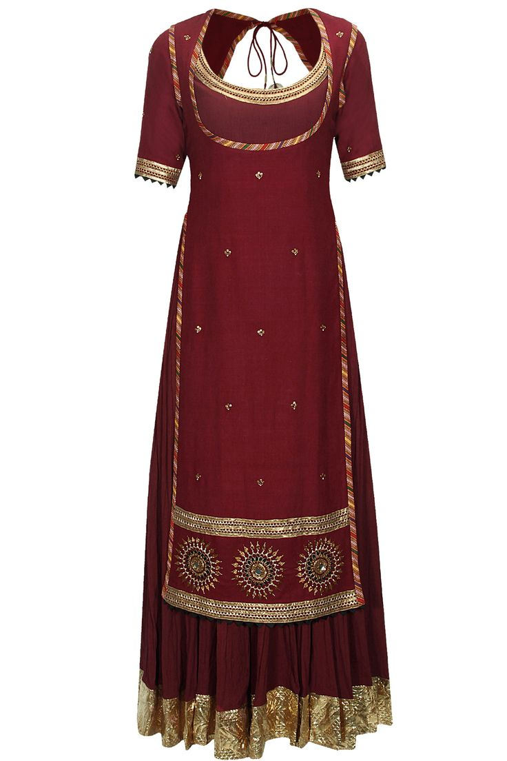 Brick red crushed anarkali set with embroidered chola available only at Pernia's Pop-Up Shop.
