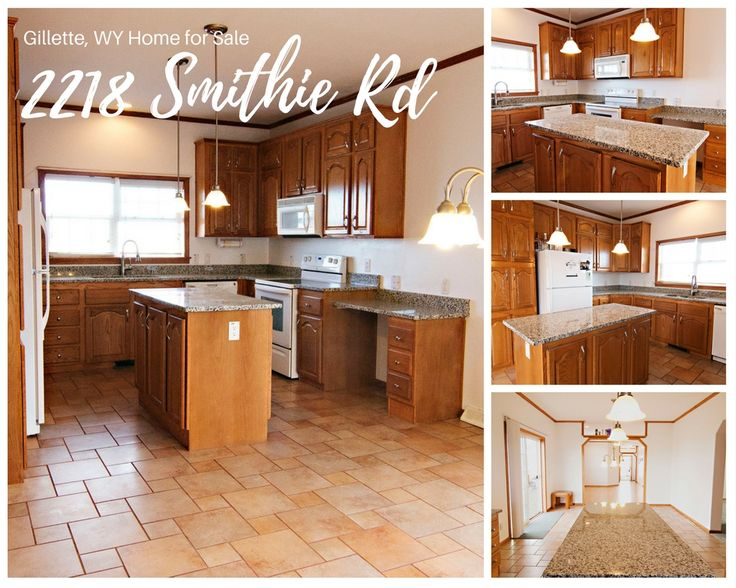 Tile floors, new granite counter tops & rich cabinetry. Do you like the kitchen at 2218 Smithie Rd in Gillette, WY? Call Team Properties Group for more info 307.685.8177