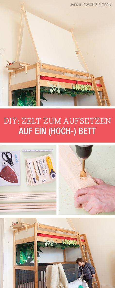Kinderzimmer verschönern mit Eltern.de: Zelt als Aufsatz fürs Hochbett bauen / diy inspiration for the children's room: tent for the bed via DaWanda.com