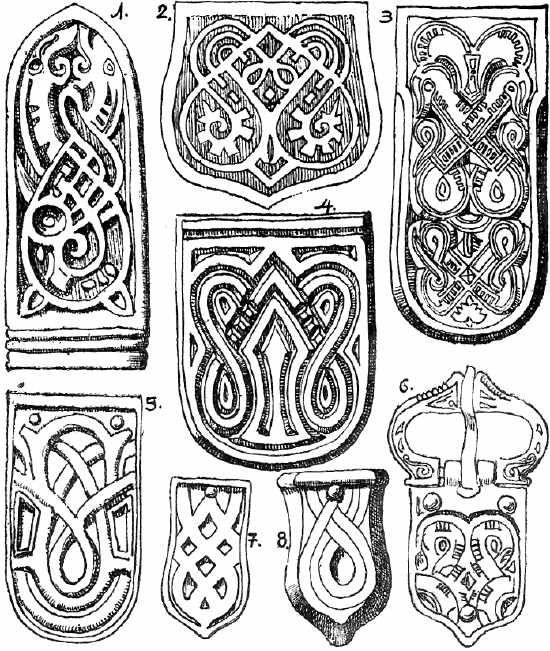Kígyós minta, hun-avar arany, ezüst és bronz szíjvégeken.  -a magyar turáni ornamentika története -