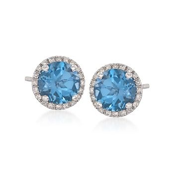 3.00 ct. t.w. Blue Topaz and .15 ct. t.w. Diamond Stud Earrings in 14kt White Gold