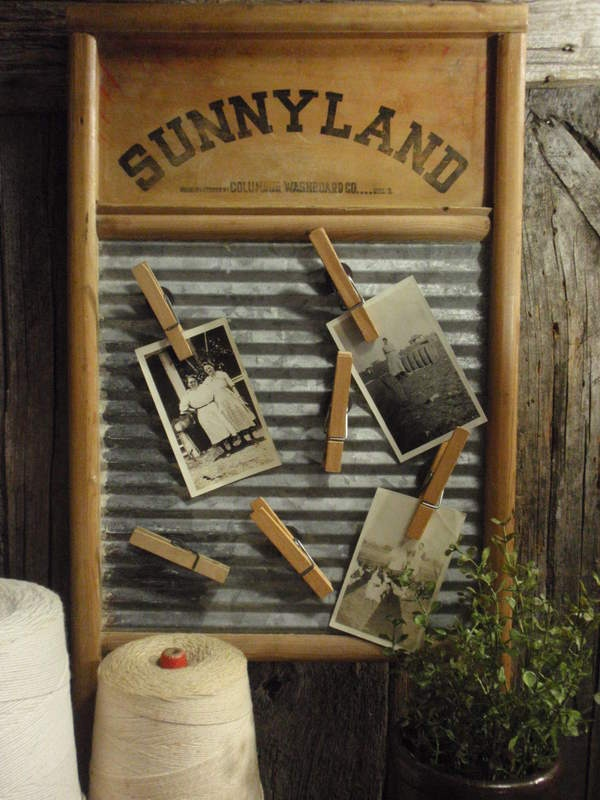 What a great idea for the washboard hanging in my utility room! I may combine the Lost socks board idea with this one. I have theblack and white photos on the wall already. I'd use clothes pins for the lost socks.