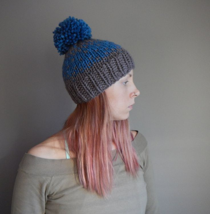 knit fair isle hat, knit beanie, blue and brown, chunky knit beanie, pom pom hat by LoveEweNatural on Etsy