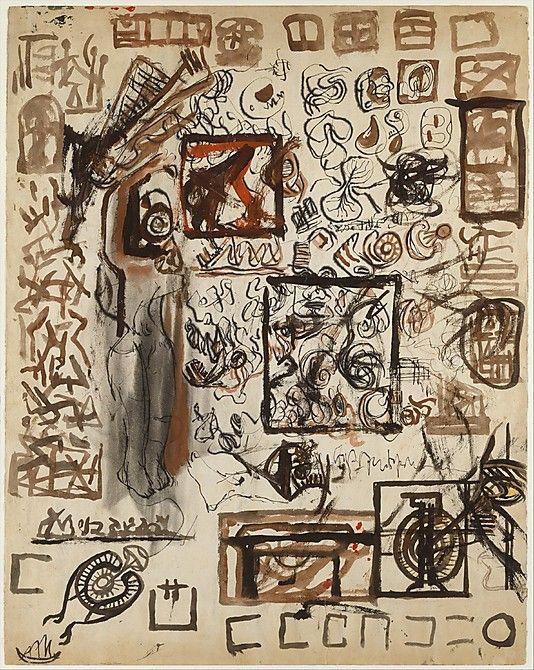Untitled (Sheet of Studies), Jackson Pollock  (American, Cody, Wyoming 1912–1956 East Hampton, New York).   Ink, gouache, watercolor, colored pencils and graphite pencil on paper. @ Metropolitan Museum of Art