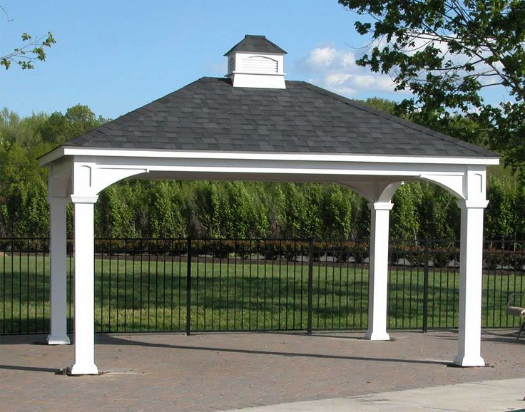 Gazebo plans vinyl single roof open rectangle gazebos for Carport garage plans