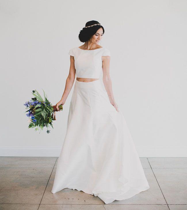 Karen Willis Holmes 2-piece crop top wedding dress