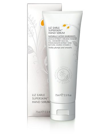 Liz Earle Superskin Hand Serum  More than just a hand cream, an active treatment with firming, smoothing, age-defying action.   Non-greasy, non-sticky, packed with rosehip oils, cranberry seed, and smoothing borage, as well as a fragrant blend of chamomile, lavender and neroli.