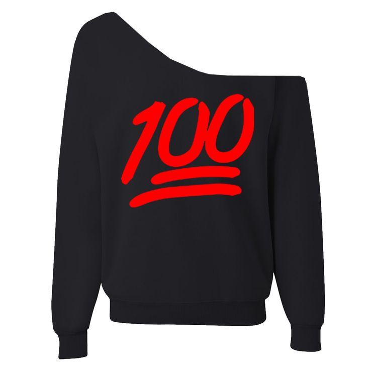 100 Emoji Off-The-Shoulder Wide Neck Sweatshirt