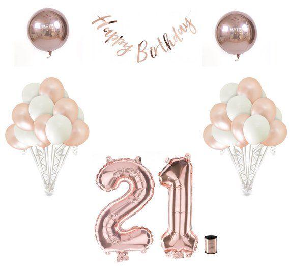 21st Birthday Balloon Decoration Set Rose Gold 21st Etsy