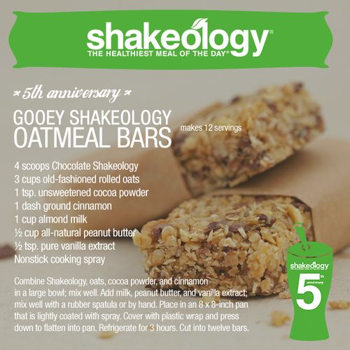 Gooey Chocolate Shakeology Oatmeal Bars Recipe | For full recipe, click here: http://hopediana.tumblr.com/post/84518601598/gooey-chocolate-shakeology-oatmeal-bars-recipe