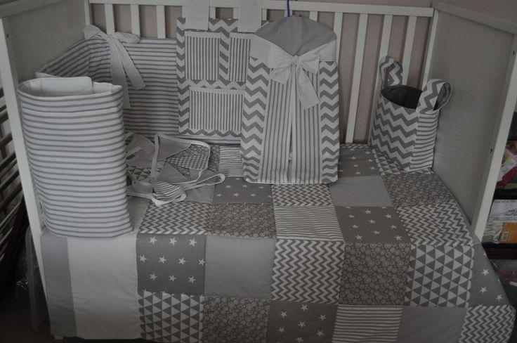 Handmade Grey White Baby Cot Set
