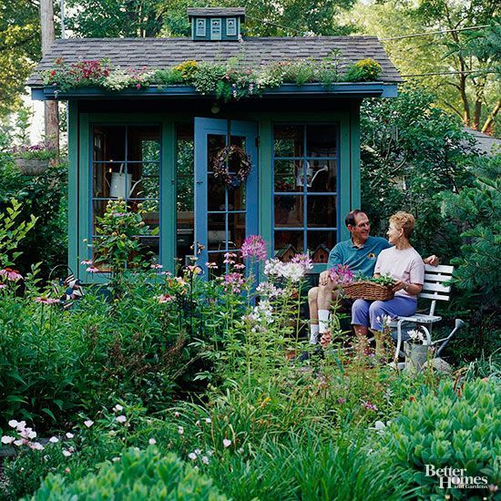 Every garden needs a focal point -- and this potting shed provides the perfect finishing touch for a half-acre Kansas garden abloom with perennials and annuals. We love that the homeowner built it himself from recycled windows and lumber he had collected over the years. Trailing blooms cascade from the shed's rain gutter, bringing additional bursts of color to the green and blue facade. Test Garden Tip: Try an easy-to-build garden-shed kit to match the style and architecture of...