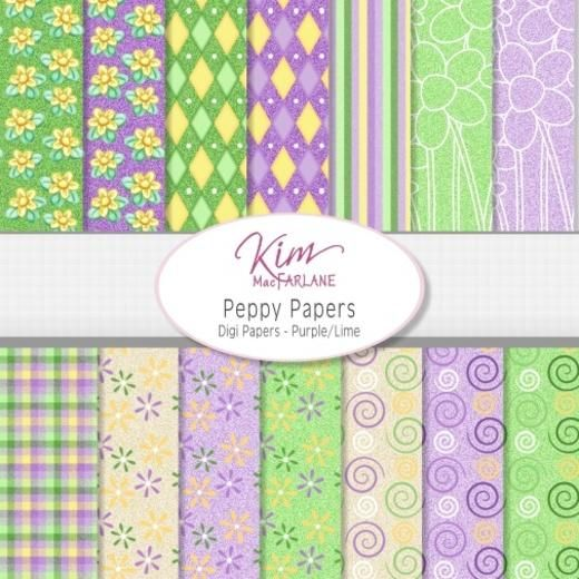 Kim's Digi Papers - Peppy Papers Purple/Lime