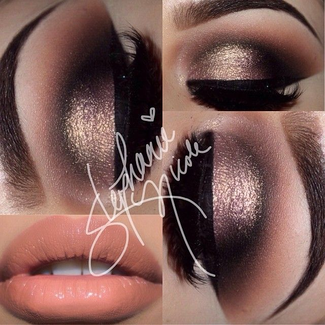 Dramatic Gold Shimmer and Black Smokey Eye Makeup - Winged Liner - Lashes - Peach Lips