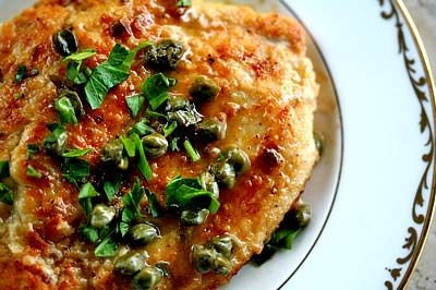 Chicken Piccata ~ Chicken piccata recipe, chicken breast cutlets, dredged in flour, browned, served with sauce of butter, lemon juice, capers, and stock or wine. ~ SimplyRecipes.com