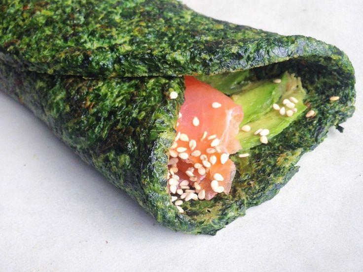 Glutenfri spinatwrap med røget laks via http://carrotstick.dk