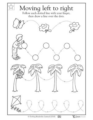 Preschool writing worksheets - pre-writing (practice wavy lines, straight lines, etc.)