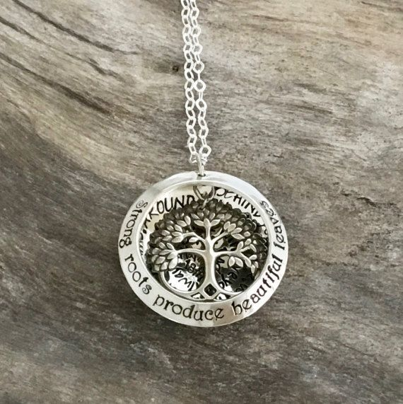 Once upon a time in the enchanted forest... there was a lady who was really special. Let mom carry her little ones close to her heart with this personalized hand stamped mom necklace. Now your mom can carry around this little bit of magic with my personalized tree name necklace. Whether shes going to a party or simply out shopping, she will look stunning with this magical accessory. It will be a conversation piece and shell be so proud to show it off.  Show her how much you care about her…