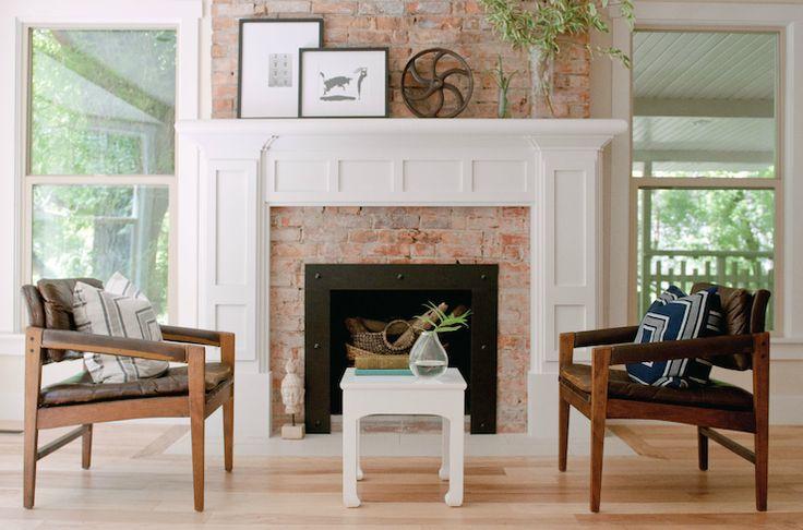 brick + paneled mantle fireplace