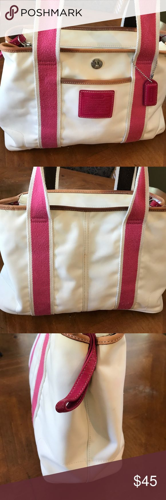 Coach Satchel bag Looks cute ,it's washable,has some minor trace of dirt around but overall looks good! Coach Bags Satchels