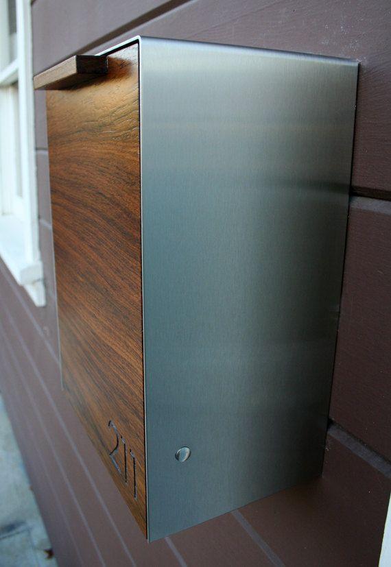 modern mailbox narrow teak wall mounted mailbox by ceceworks - Modern Mailboxes