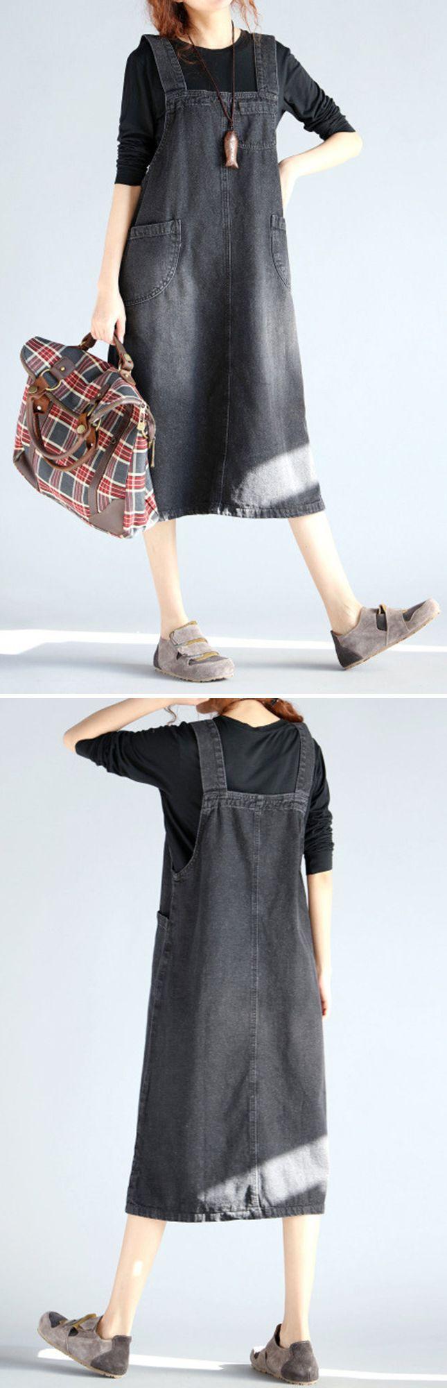 US$ 22.56 O-NEWE Casual Sleeveless Pockets Strap Denim Dress For Women