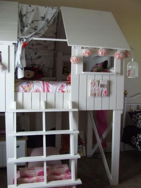 """Another option we've been thinking about to give the girls more """"room"""" to play in their room. #AnaWhite #BeachHutBed #LoftBed"""