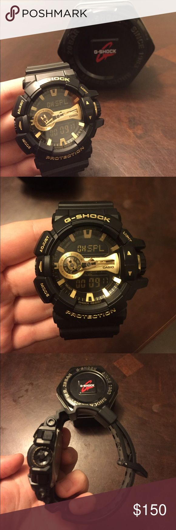 Black And Gold Brand New G Shock Has Adjust Mode Light Perfect Condition Never Worn Still With Tag Ing For Original Price Obo