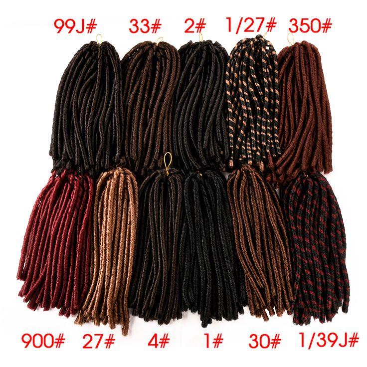 14 ''30 Raízes Macio Crochet Dreadlocks Tranças Dreadlock extensões de Tecelagem Softex falso Cabelo Dread dreadlocks Tranças De Crochê cabelo Macio