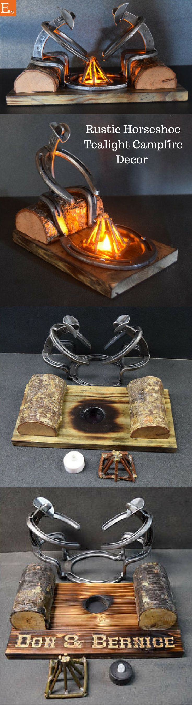 The Horseshoe feel and the tealight campfire feel would be a perfect addition to my rustic decor! #Horseshoecraftsideas