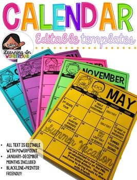 You are purchasing editable calendars that can be used for multiple purposes.Are you trying to keep your parents up to date with all your school and classroom events?  These templates may be just the thing you need. Send these calendars home to keep your parents up to date about school events, upcoming tests, vacations, field trips, etc.