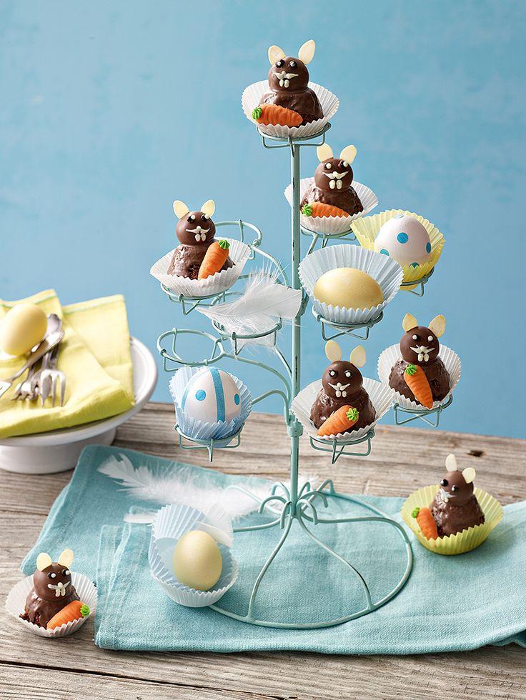Schoko-Osterhäschen -  Mini-Osterhasen aus Muffins und Trüffelpralinen.