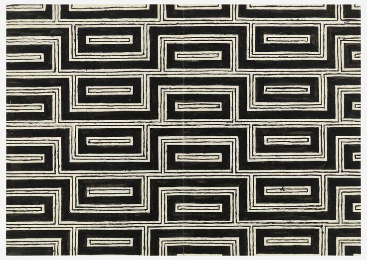 design-is-fine:Josef Hoffmann, design for textile, 1950s. Brush and black gouache, graphite on graph paper. Vienna. Via Cooper Hewitt.