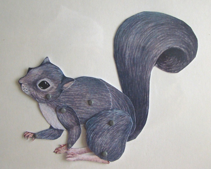 Grey Squirrel Jointed paper puppet by JenniPhillipsArt on Etsy