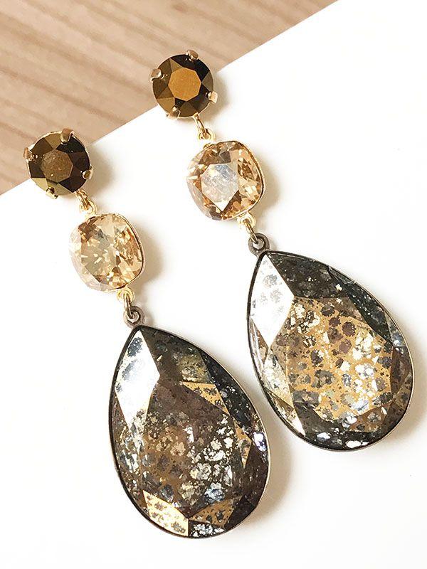 cd772c813aff Pendientes de cristal Swarovski con gota moteada en tonos dorados y bronce.
