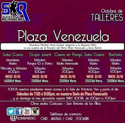 @sonrumbero -  PLAZA VENEZUELA ünete a nuestros PRINCIPIANTES. aprovecha estos días de promoción inscripción gratuita al registrarse con el pago mensual entre el 15/09 y el 22/09. Ahora con Clase Práctica todos los sábados de 7 a 9pm y un DOMINGO AL MES DE BAILE SOCIAL en nuestra sede PLAZA VENEZUELA. #SalsaCasino #Bachata #ClasePractica #BaileSocial #Promociones #LiberaStressDelTrabajo #Supercentrico #SalsaCasinoVenezuela #BailaVenezuela #BailaEnCaracas #BailaEnSanAntonio…