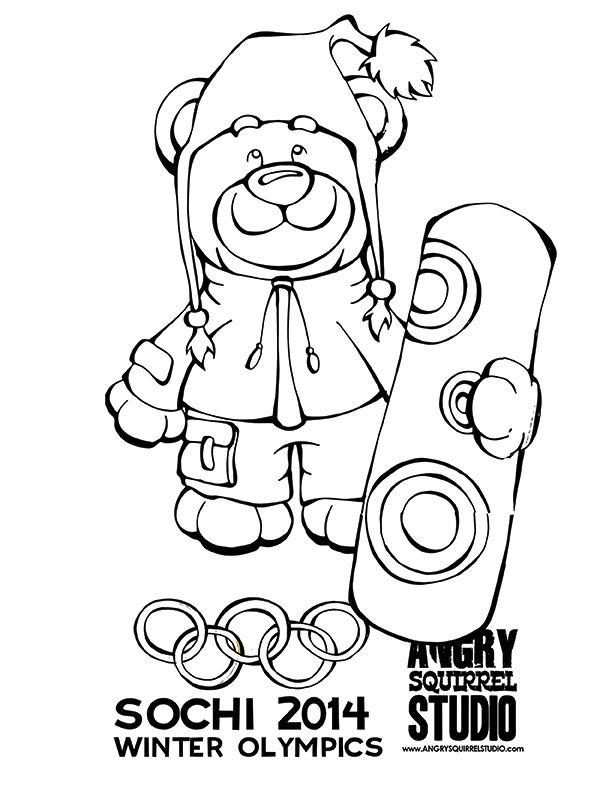 The Polar Bear Loves To Snowboard FREE COLORING PAGE Olympics Free Coloring PagesWinter