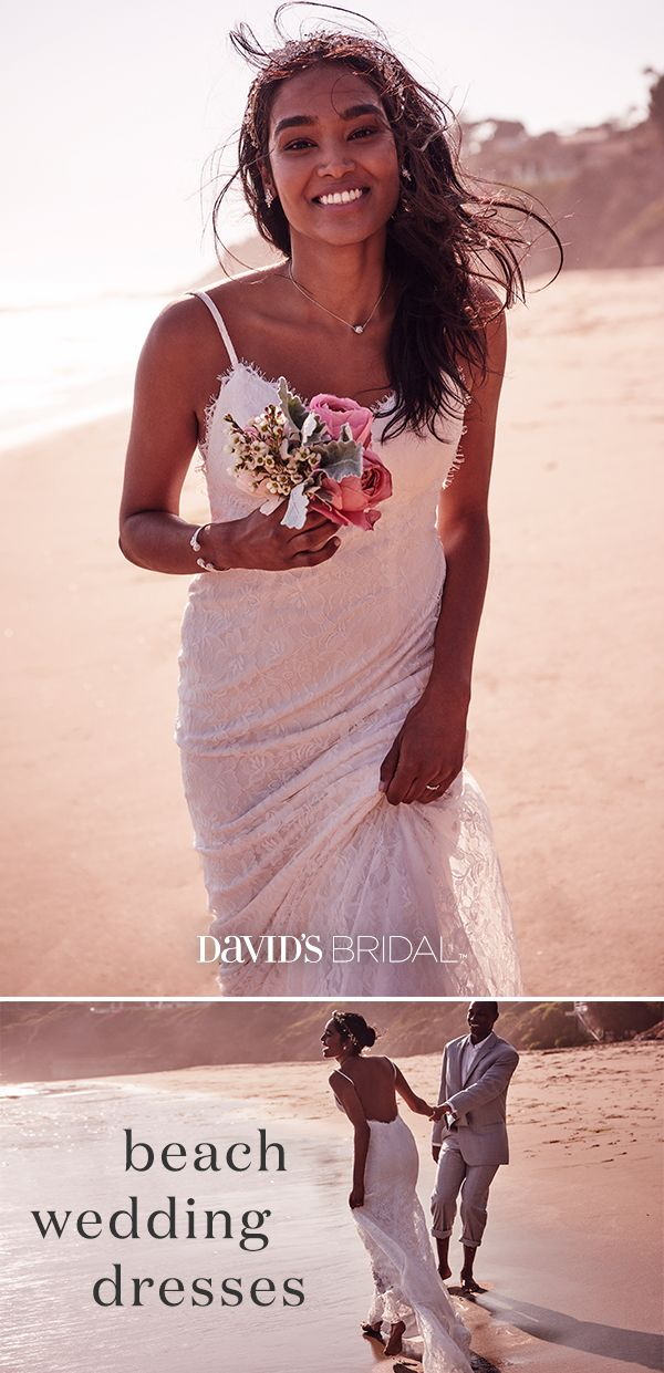 Shop David's Bridal for bohemian-inspired beach wedding dresses. This formfitting and figure-flattering eyelash lace sheath dress swoops low at the back as a lace train trails weightlessly behind. Whatever your budget, size, style, or personality, you'll find the dress that's perfect for your beach wedding at David's Bridal.