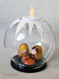 Cute idea for a little clay nativity in a snow globe!