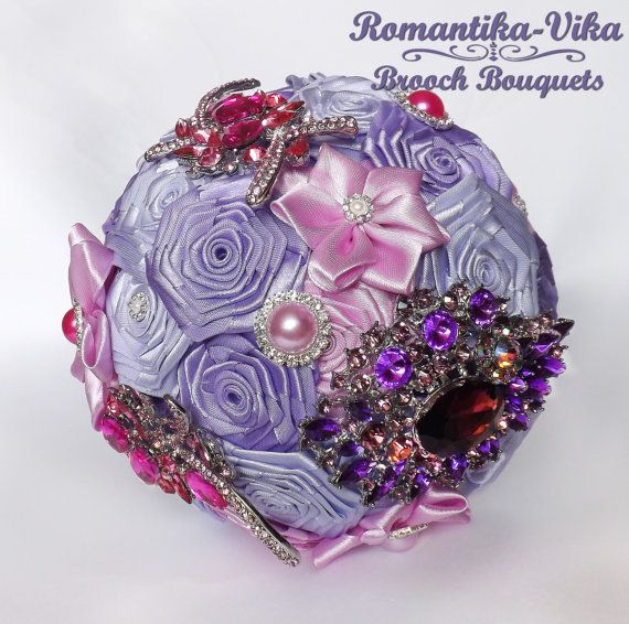 Lilac wedding brooch bouquet. Jeweled and Fabric bouquet