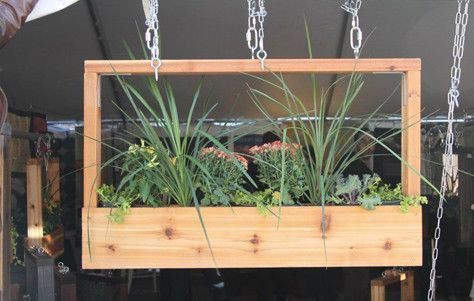 "Cedar, suspended planter boxes / Will hang these instead of ""baskets"" from my roof overhang!:"